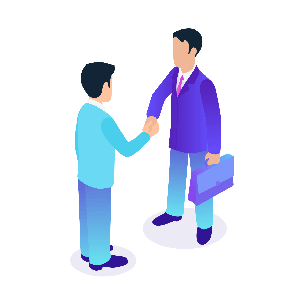 Two people shaking hands and negotiating